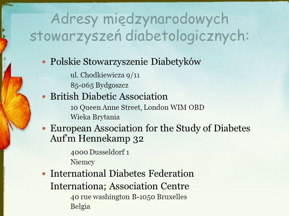 Adresy międzynarodowych stowarzyszeń diabetologicznych: