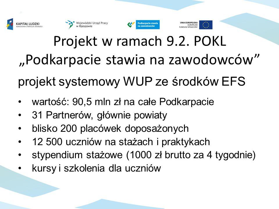"""Projekt w ramach 9.2. POKL """"Podkarpacie stawia na zawodowców"""