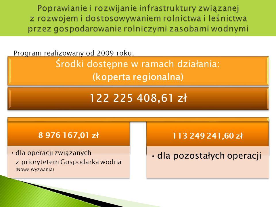 Środki dostępne w ramach działania: (koperta regionalna)