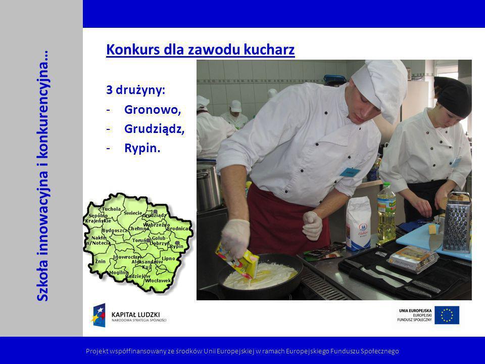 Konkurs dla zawodu kucharz 3 drużyny: Gronowo, Grudziądz, Rypin.