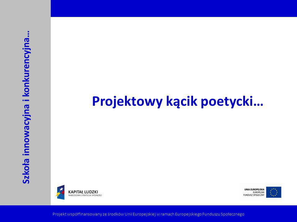 Projektowy kącik poetycki… Szkoła innowacyjna i konkurencyjna…