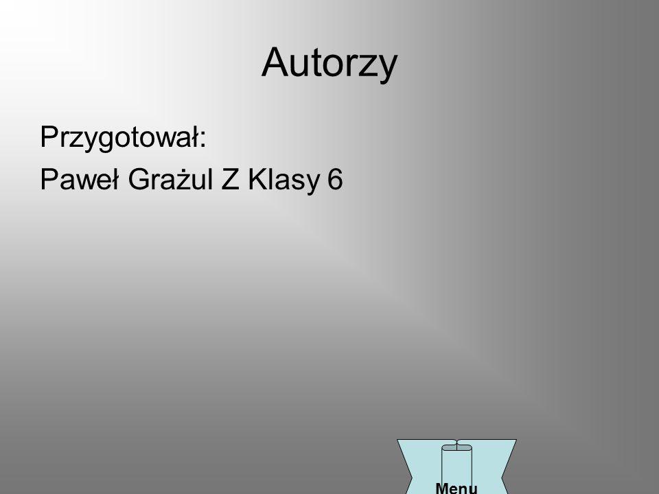 Autorzy Przygotował: Paweł Grażul Z Klasy 6 Menu