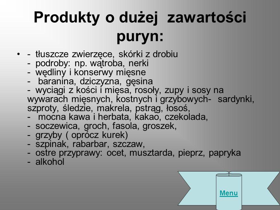 Produkty o dużej zawartości puryn: