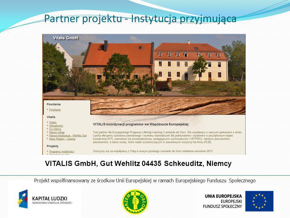 Partner projektu - Instytucja przyjmująca