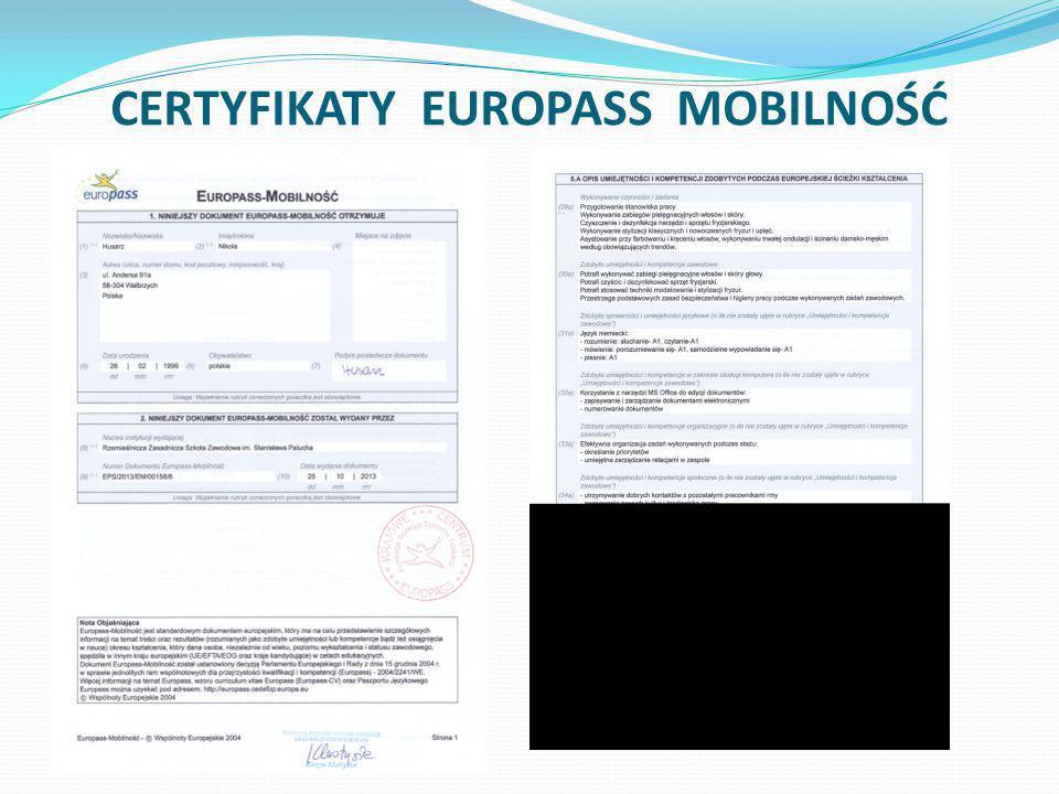 CERTYFIKATY EUROPASS MOBILNOŚĆ