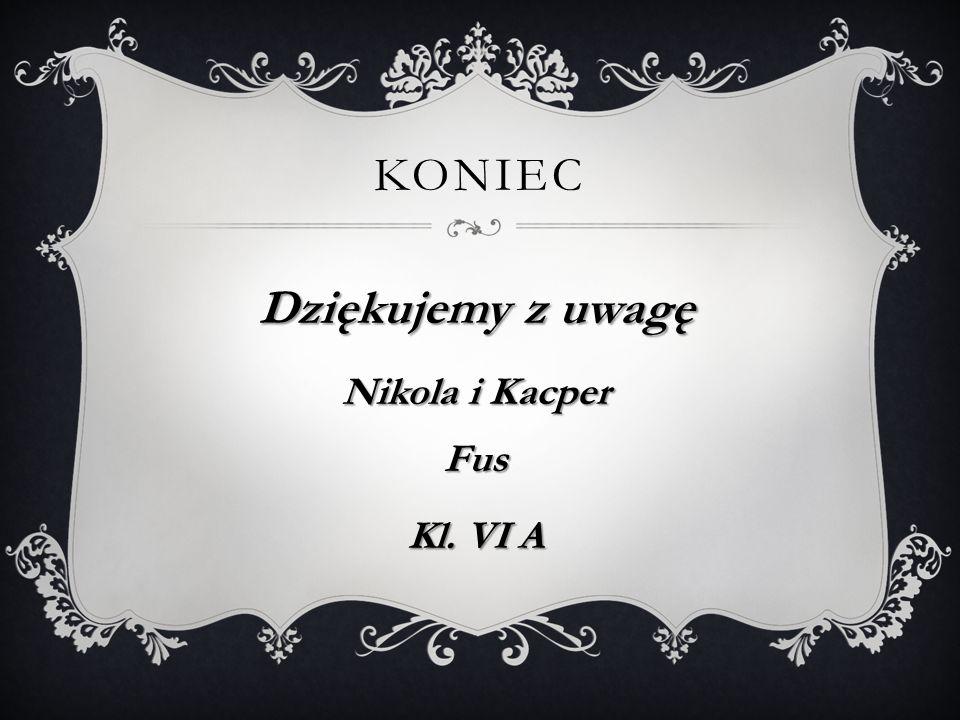 Koniec Dziękujemy z uwagę Nikola i Kacper Fus Kl. VI A