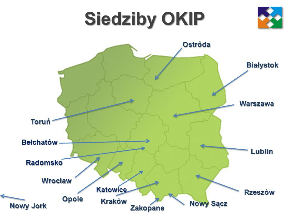 Siedziby OKIP Ostróda Białystok Warszawa Toruń Bełchatów Lublin
