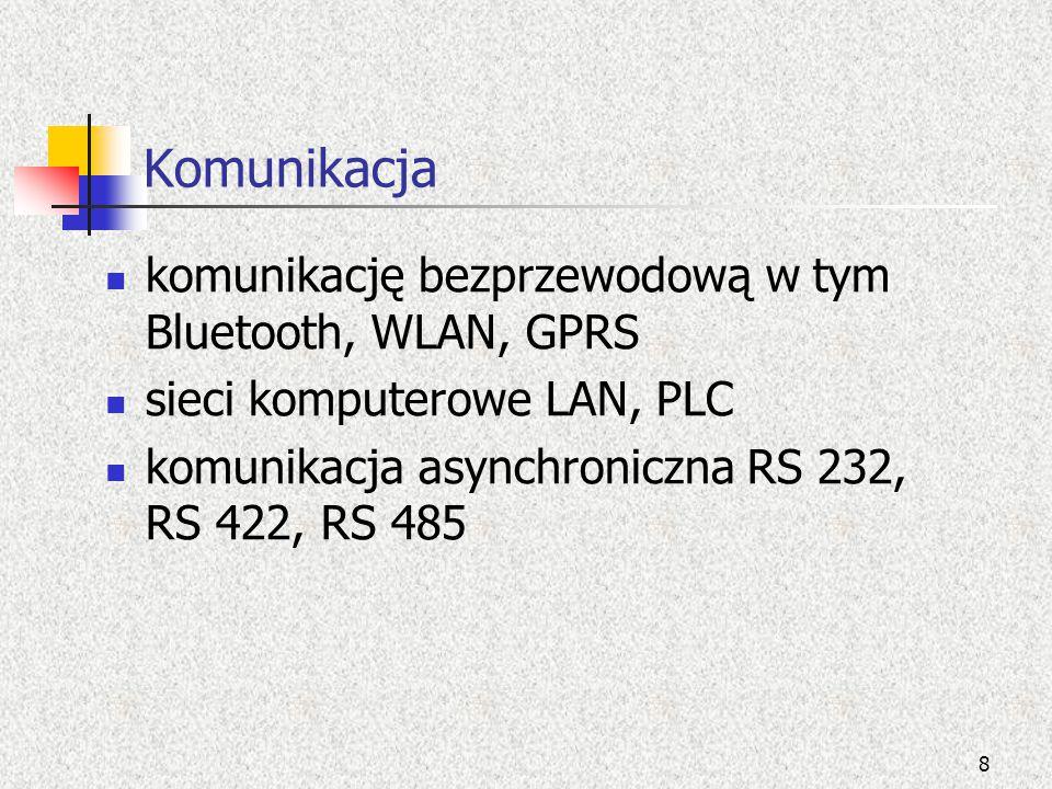 Komunikacja komunikację bezprzewodową w tym Bluetooth, WLAN, GPRS