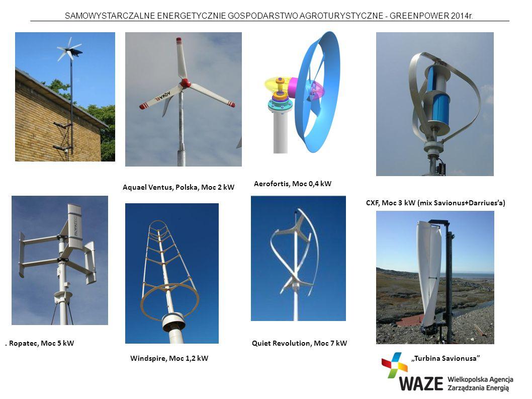 Aerofortis, Moc 0,4 kW Aquael Ventus, Polska, Moc 2 kW. CXF, Moc 3 kW (mix Savionus+Darriues'a) . Ropatec, Moc 5 kW.