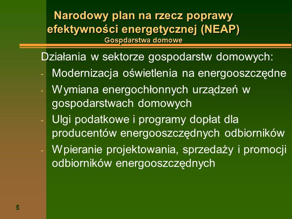 Narodowy plan na rzecz poprawy efektywności energetycznej (NEAP) Gospdarstwa domowe