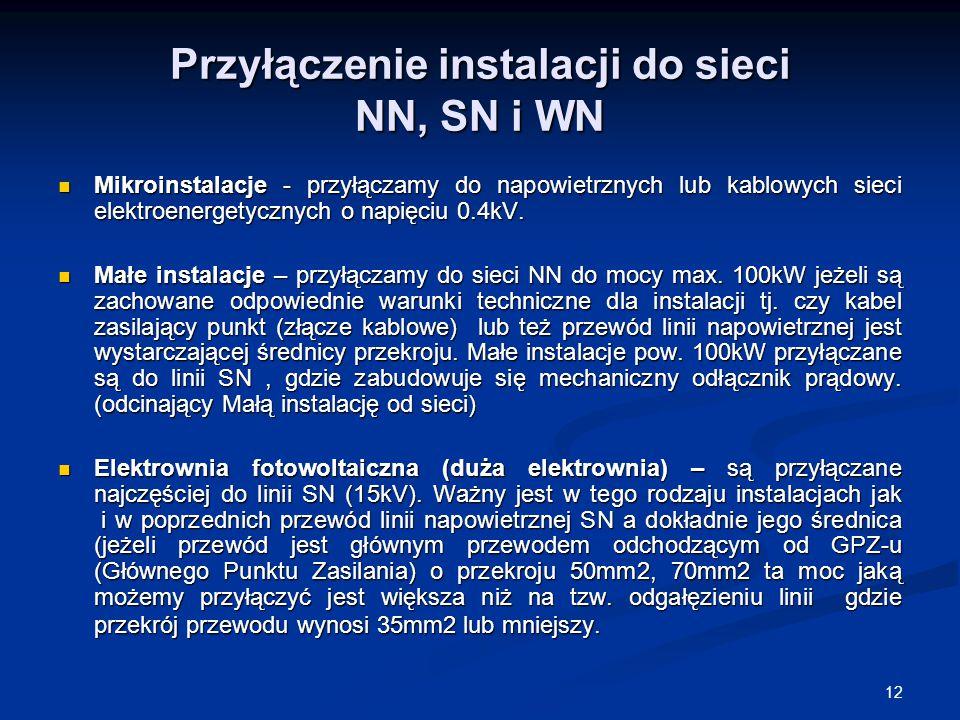 Przyłączenie instalacji do sieci NN, SN i WN