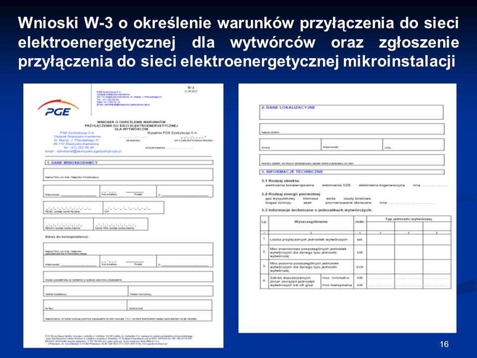 Wnioski W-3 o określenie warunków przyłączenia do sieci elektroenergetycznej dla wytwórców oraz zgłoszenie przyłączenia do sieci elektroenergetycznej mikroinstalacji