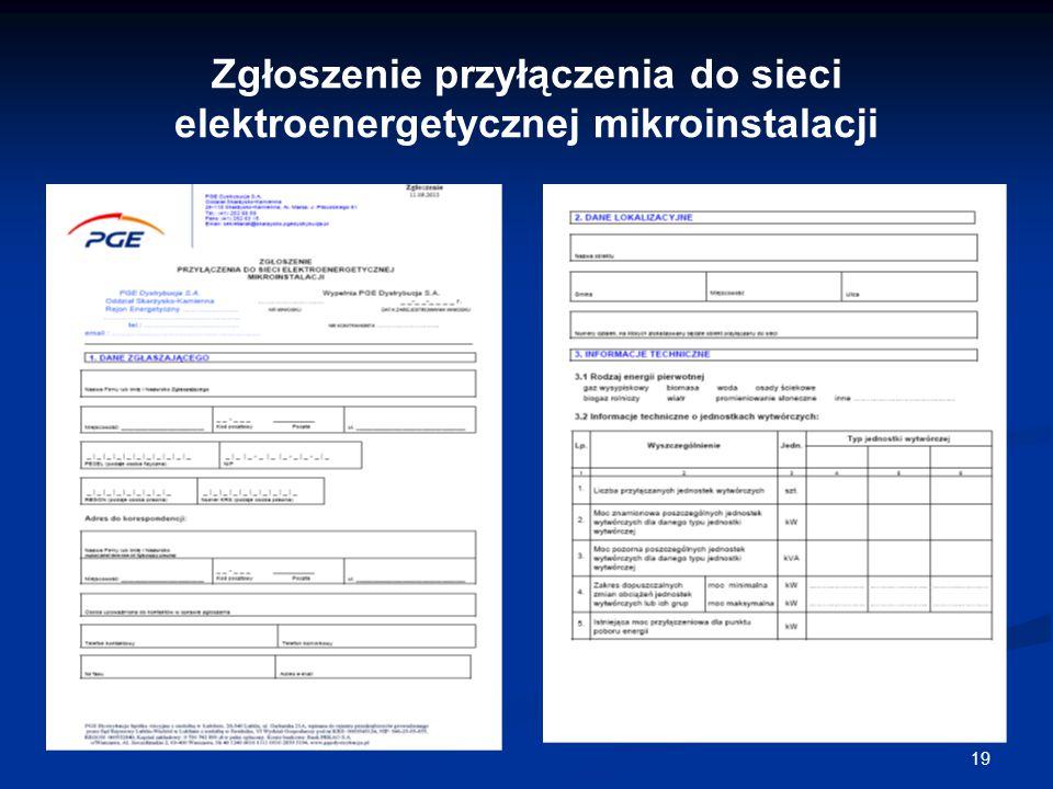 Zgłoszenie przyłączenia do sieci elektroenergetycznej mikroinstalacji