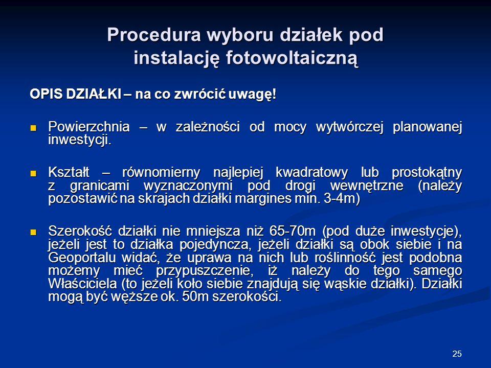 Procedura wyboru działek pod instalację fotowoltaiczną