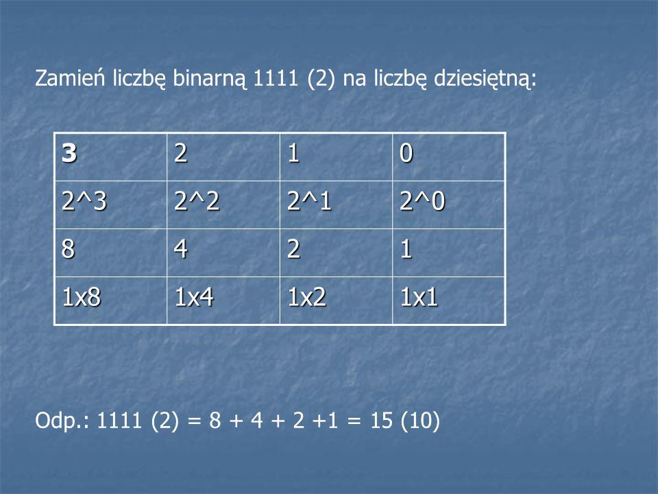 Zamień liczbę binarną 1111 (2) na liczbę dziesiętną: