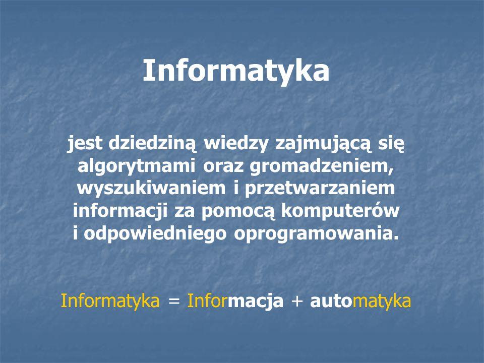 Informatyka = Informacja + automatyka