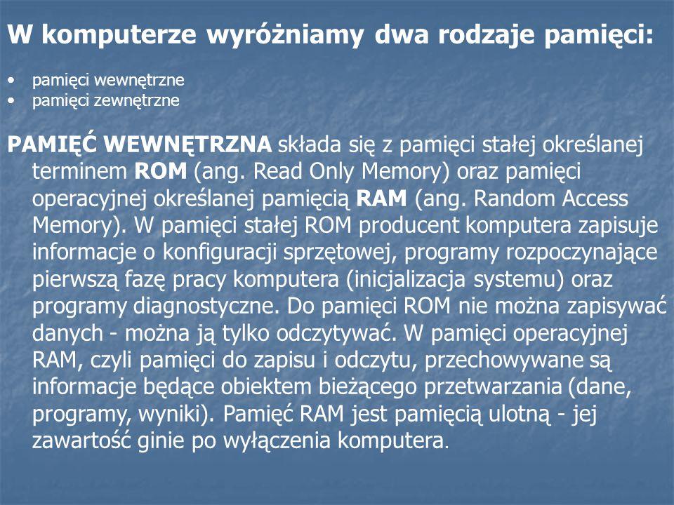 W komputerze wyróżniamy dwa rodzaje pamięci: