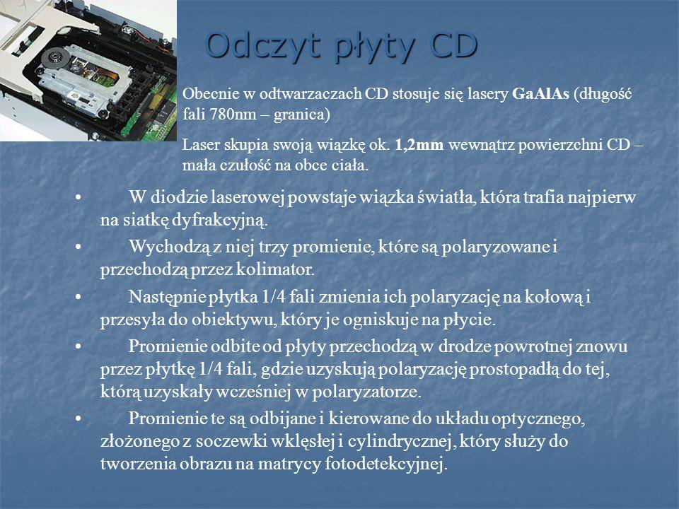 Odczyt płyty CD Obecnie w odtwarzaczach CD stosuje się lasery GaAlAs (długość fali 780nm – granica)