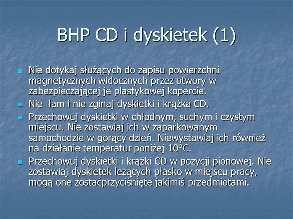 BHP CD i dyskietek (1) Nie dotykaj służących do zapisu powierzchni magnetycznych widocznych przez otwory w zabezpieczającej je plastykowej kopercie.
