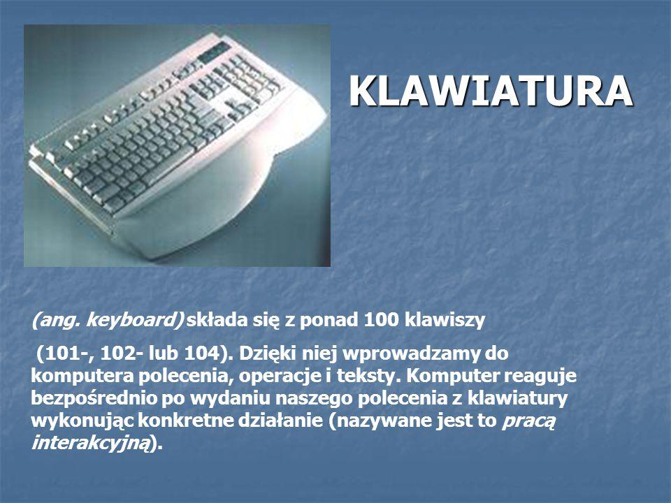 KLAWIATURA (ang. keyboard) składa się z ponad 100 klawiszy