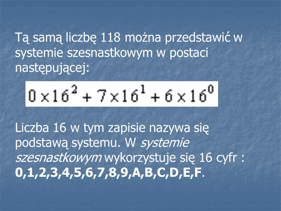 Tą samą liczbę 118 można przedstawić w systemie szesnastkowym w postaci następującej:
