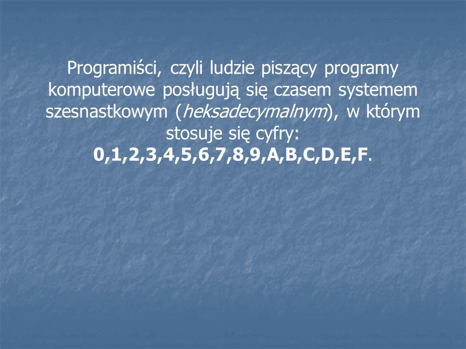 Programiści, czyli ludzie piszący programy komputerowe posługują się czasem systemem szesnastkowym (heksadecymalnym), w którym stosuje się cyfry: 0,1,2,3,4,5,6,7,8,9,A,B,C,D,E,F.