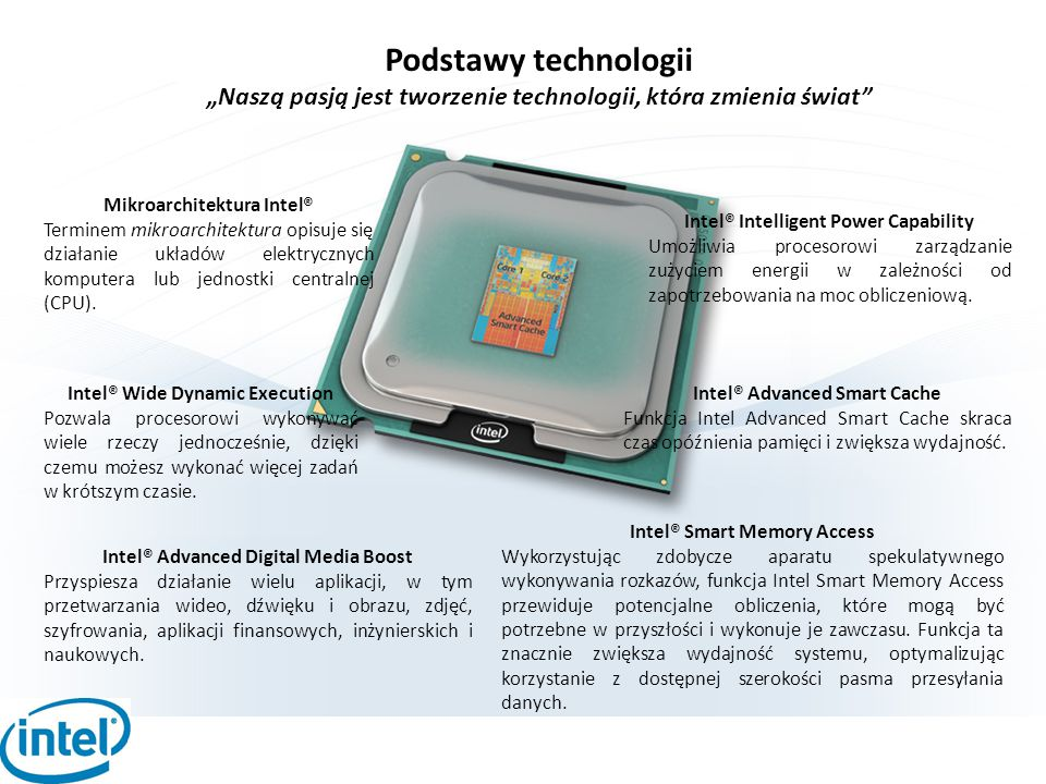 """Podstawy technologii """"Naszą pasją jest tworzenie technologii, która zmienia świat Mikroarchitektura Intel®"""