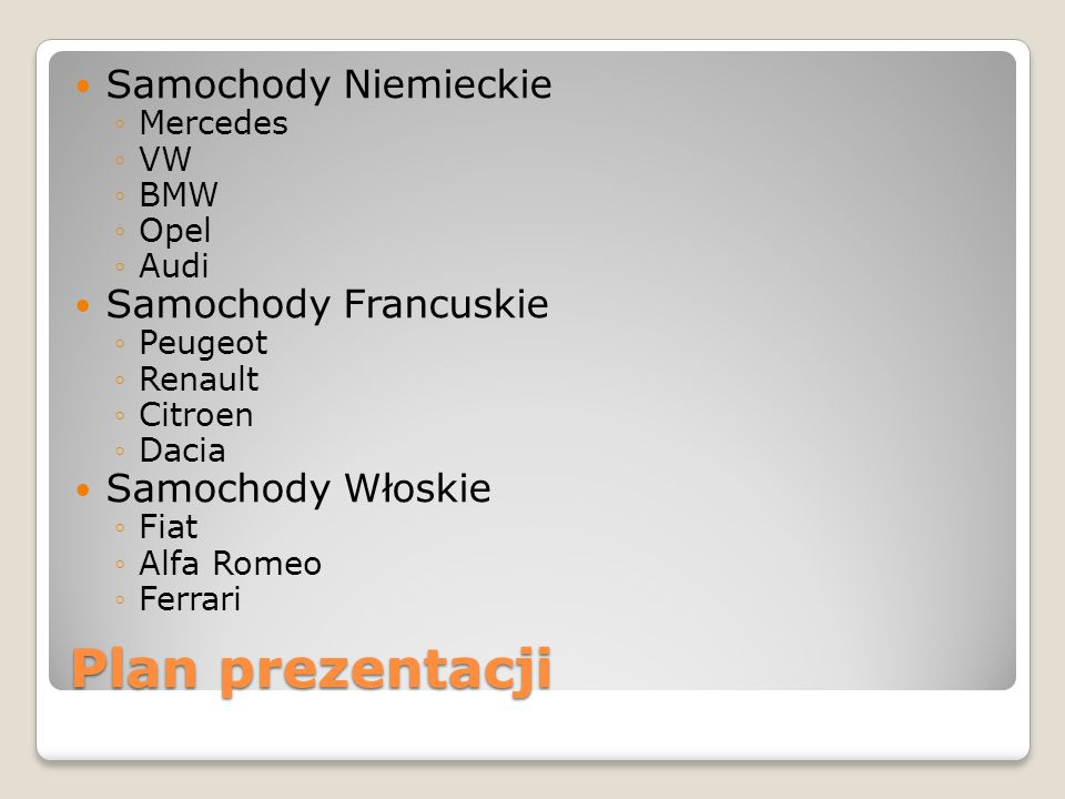 Plan prezentacji Samochody Niemieckie Samochody Francuskie