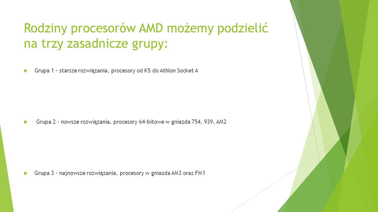 Rodziny procesorów AMD możemy podzielić na trzy zasadnicze grupy: