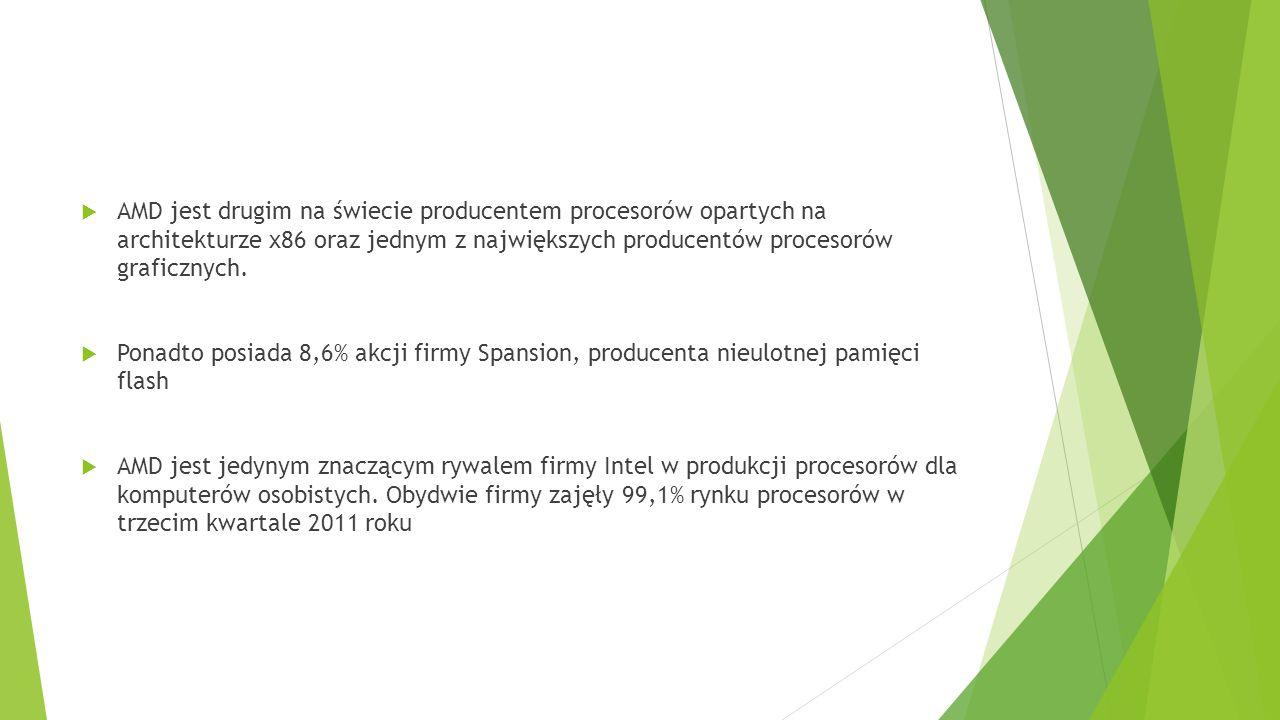AMD jest drugim na świecie producentem procesorów opartych na architekturze x86 oraz jednym z największych producentów procesorów graficznych.