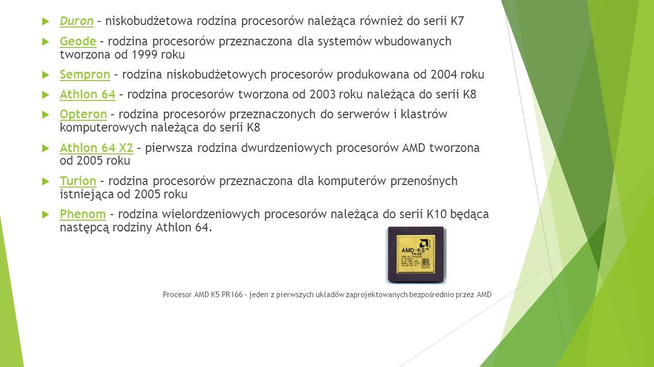 Duron – niskobudżetowa rodzina procesorów należąca również do serii K7