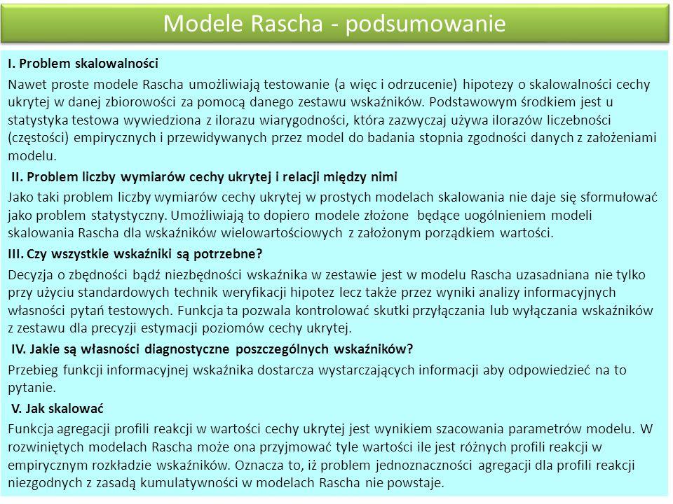 Modele Rascha - podsumowanie