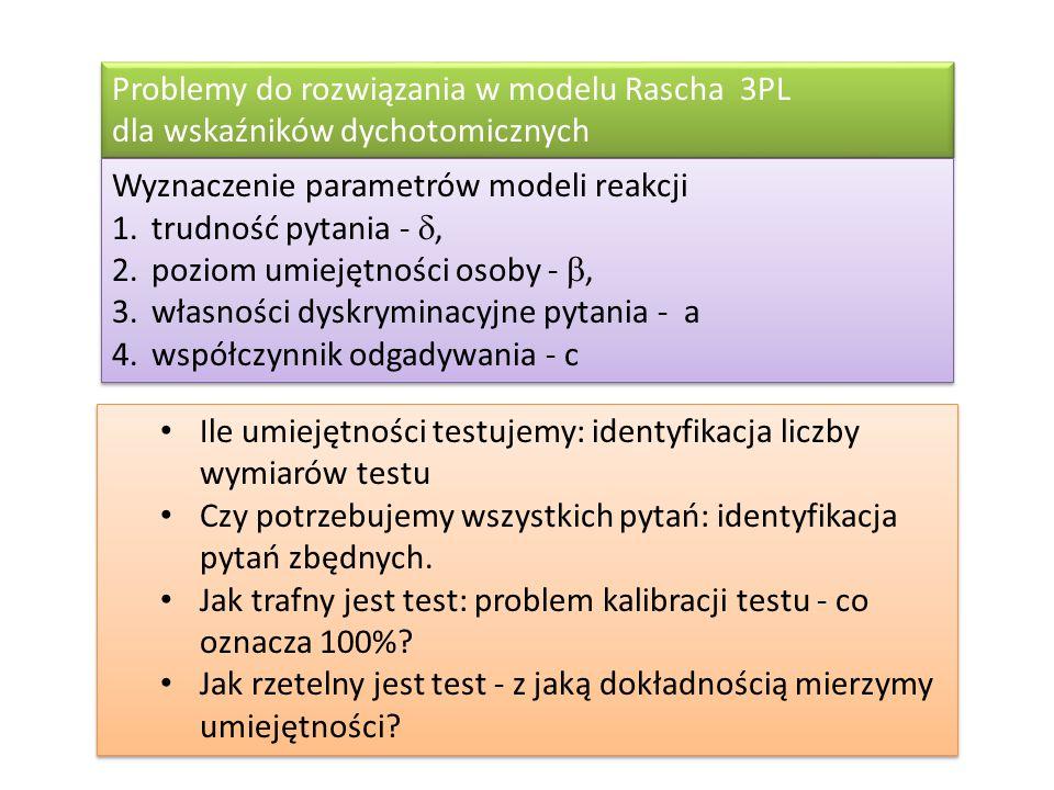 Problemy do rozwiązania w modelu Rascha 3PL dla wskaźników dychotomicznych
