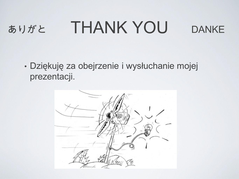THANK YOU Dziękuję za obejrzenie i wysłuchanie mojej prezentacji. ありがと DANKE