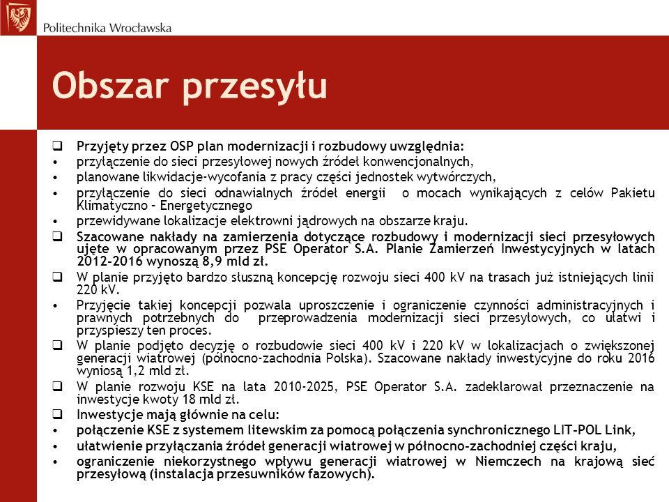 Obszar przesyłu Przyjęty przez OSP plan modernizacji i rozbudowy uwzględnia: przyłączenie do sieci przesyłowej nowych źródeł konwencjonalnych,
