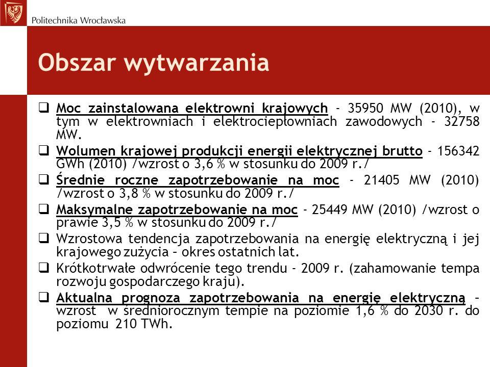 Obszar wytwarzania Moc zainstalowana elektrowni krajowych - 35950 MW (2010), w tym w elektrowniach i elektrociepłowniach zawodowych - 32758 MW.