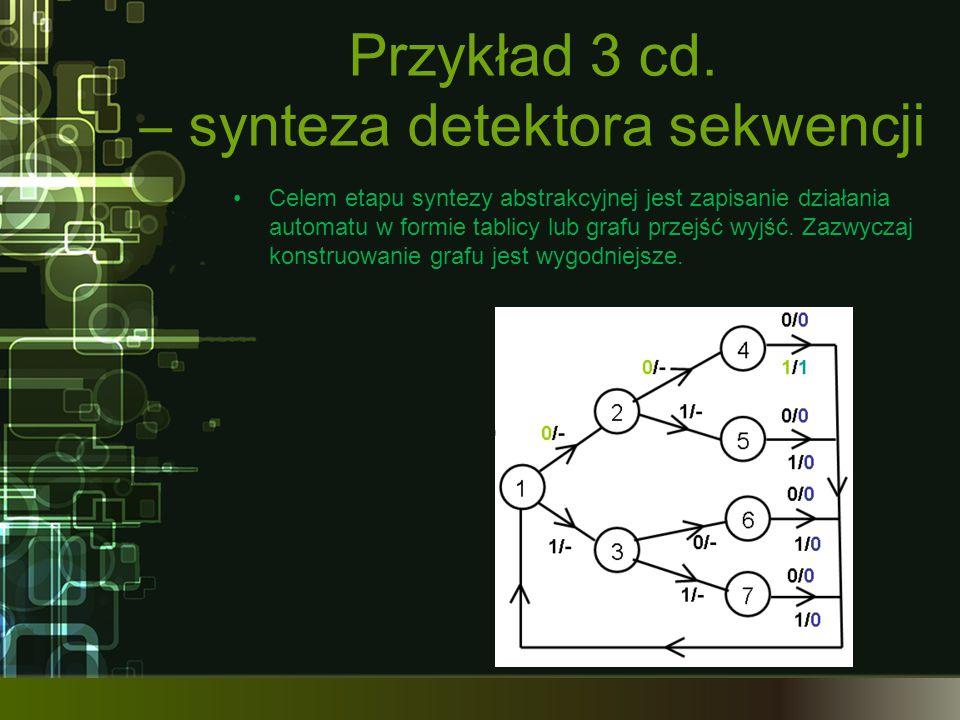 Przykład 3 cd. – synteza detektora sekwencji