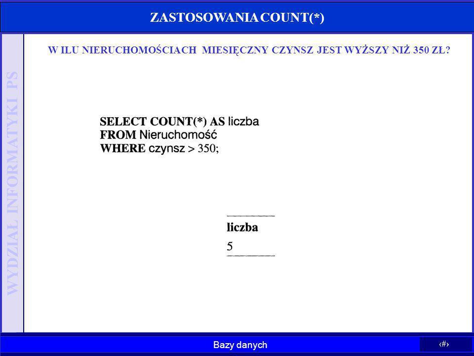 ZASTOSOWANIA COUNT(*)