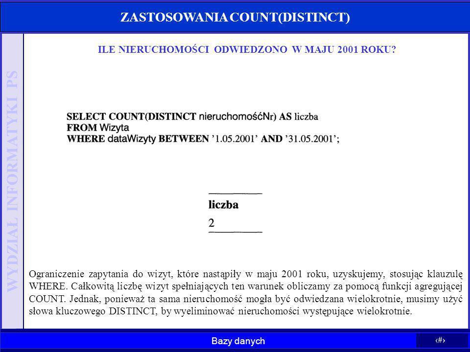 ZASTOSOWANIA COUNT(DISTINCT)