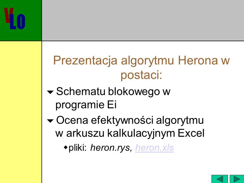 Prezentacja algorytmu Herona w postaci: