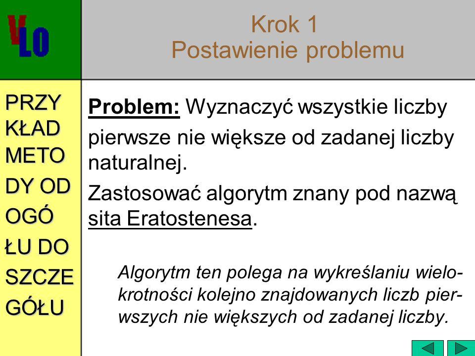 Krok 1 Postawienie problemu