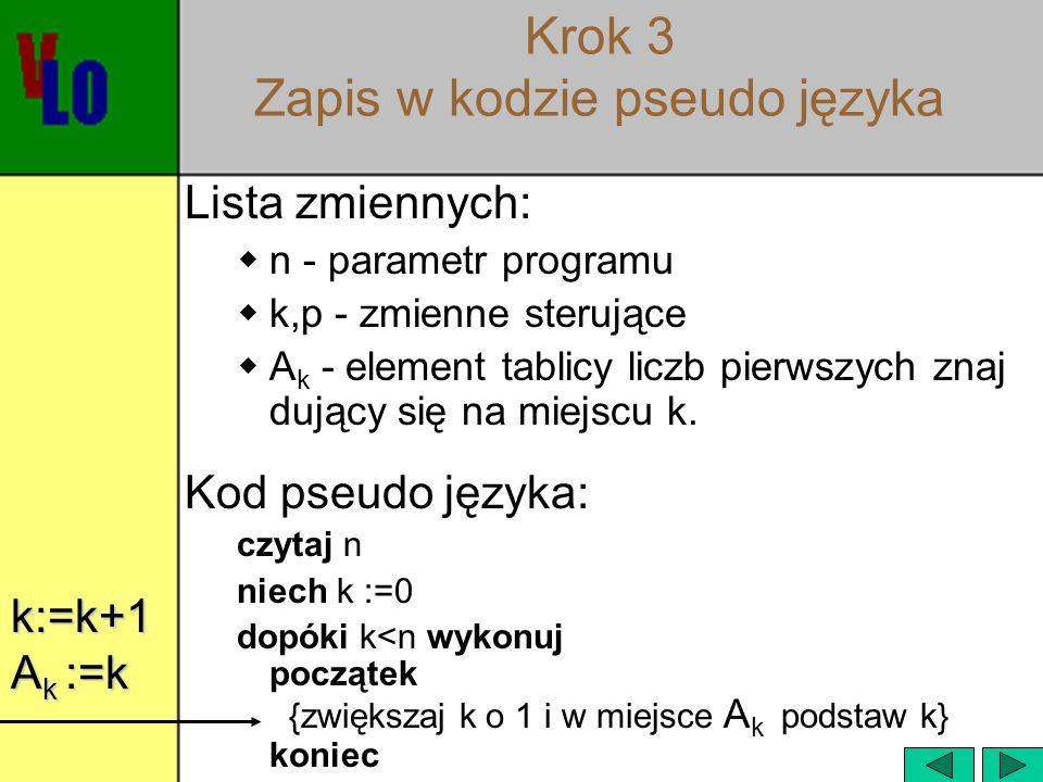 Krok 3 Zapis w kodzie pseudo języka