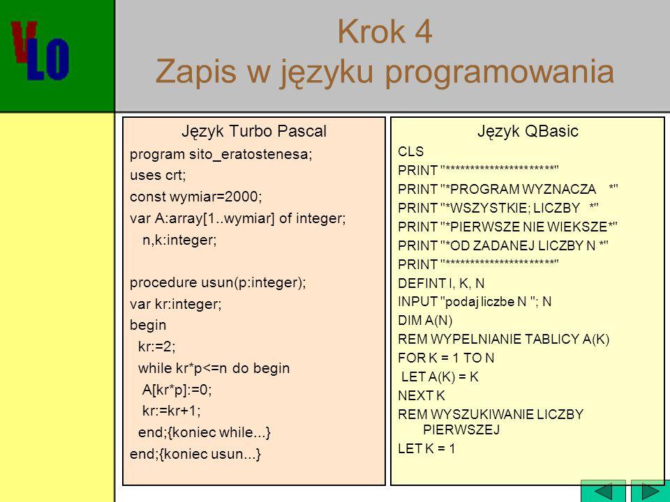 Krok 4 Zapis w języku programowania