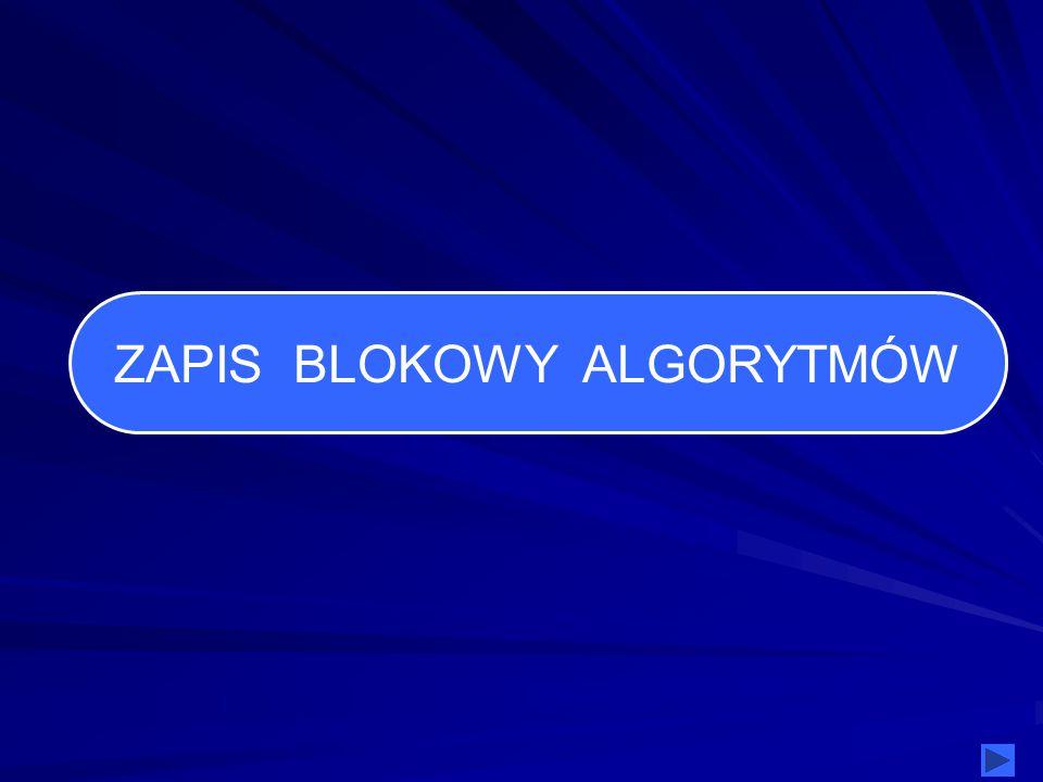 ZAPIS BLOKOWY ALGORYTMÓW