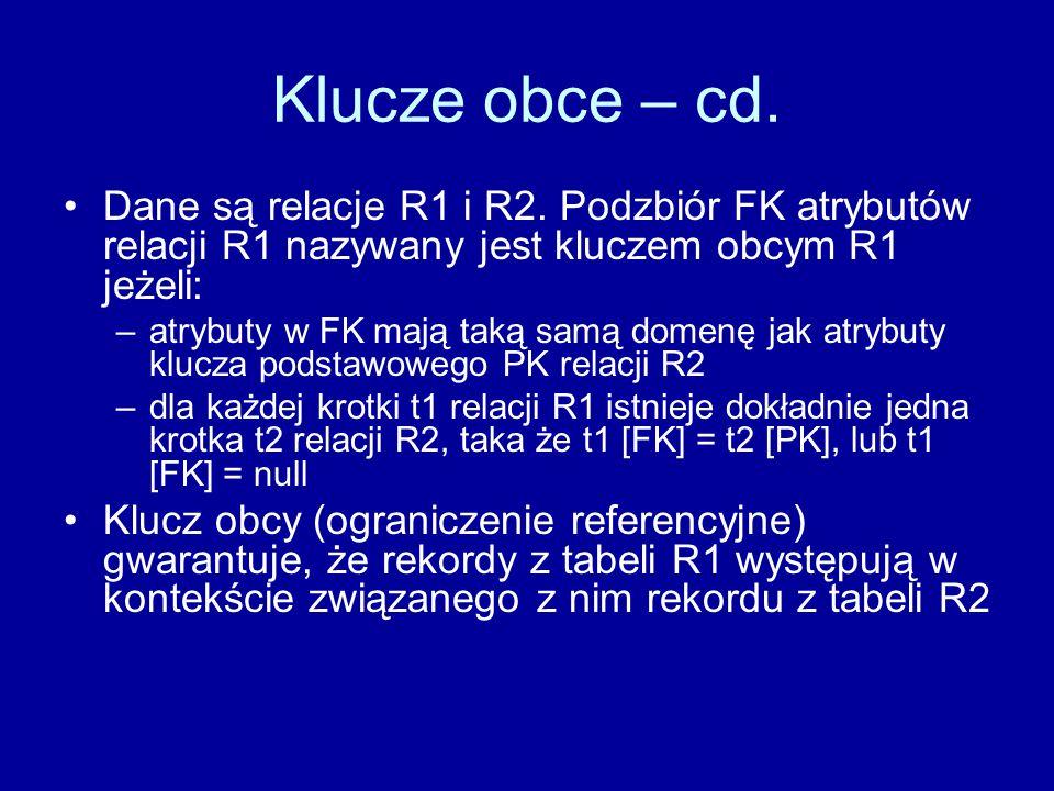 Klucze obce – cd. Dane są relacje R1 i R2. Podzbiór FK atrybutów relacji R1 nazywany jest kluczem obcym R1 jeżeli: