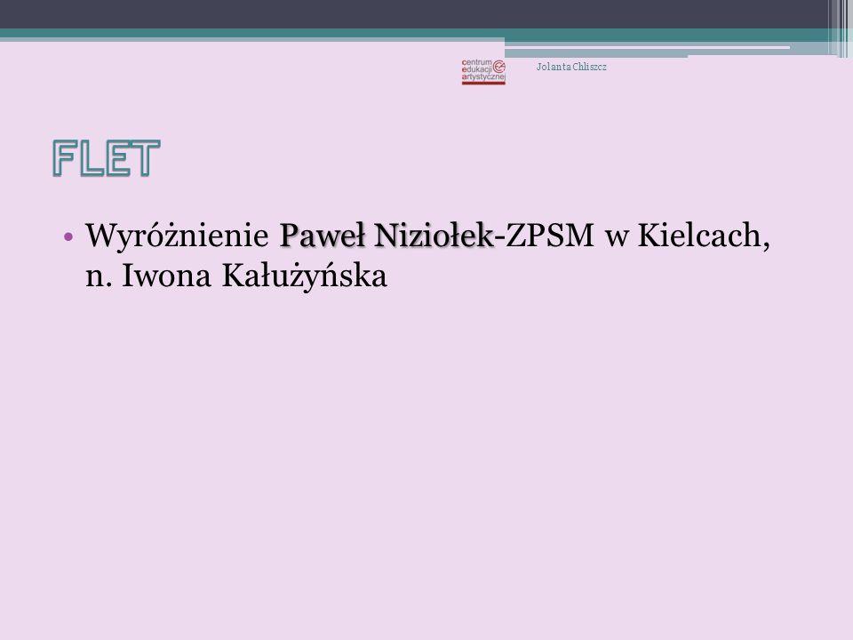 FLET Wyróżnienie Paweł Niziołek-ZPSM w Kielcach, n. Iwona Kałużyńska