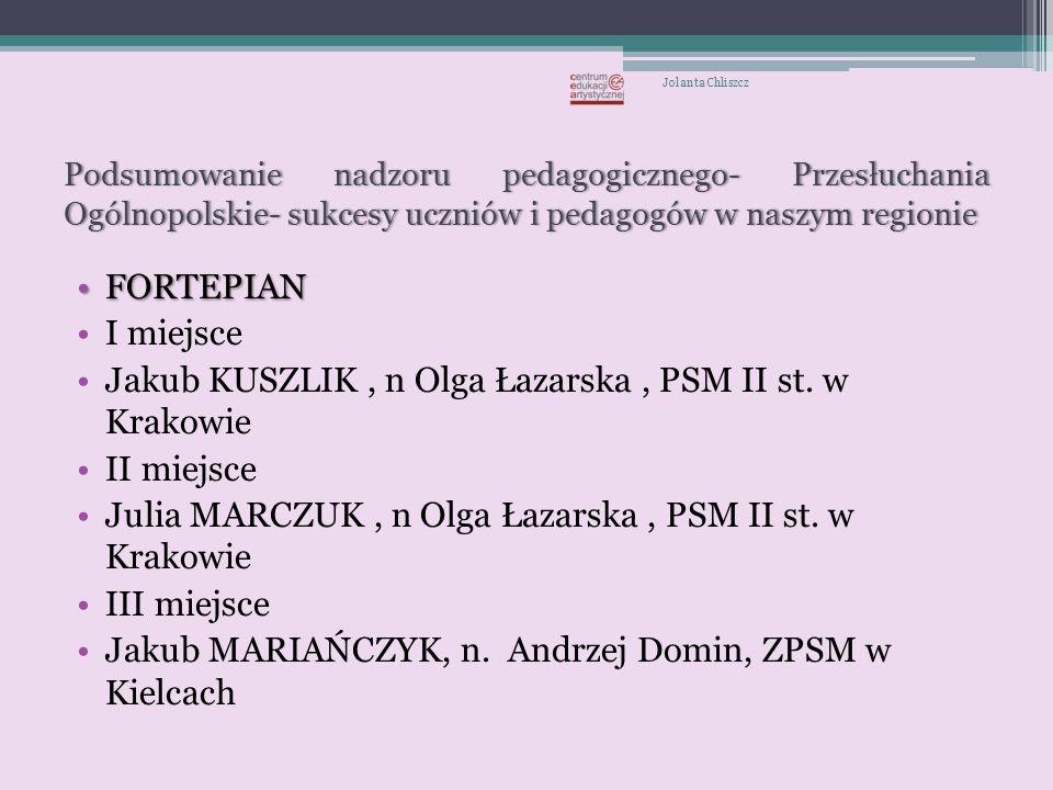 Jakub KUSZLIK , n Olga Łazarska , PSM II st. w Krakowie II miejsce