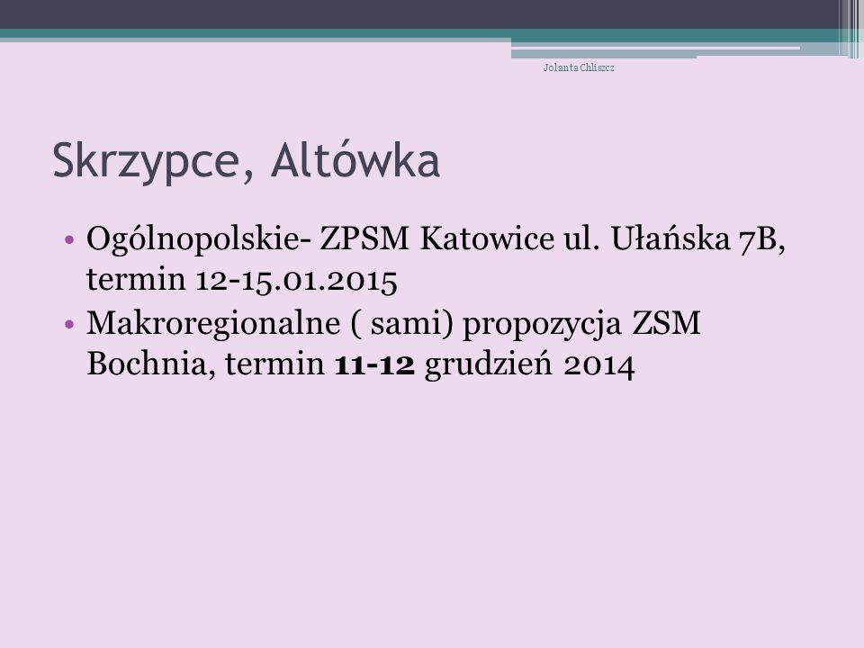Jolanta Chliszcz Skrzypce, Altówka. Ogólnopolskie- ZPSM Katowice ul. Ułańska 7B, termin 12-15.01.2015.