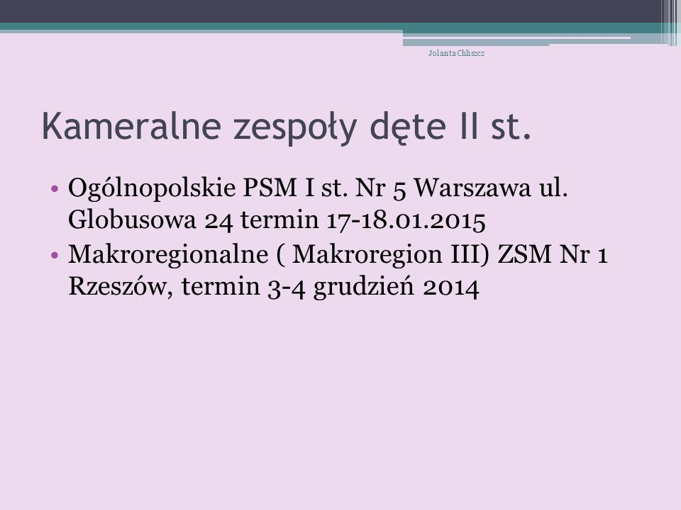 Kameralne zespoły dęte II st.