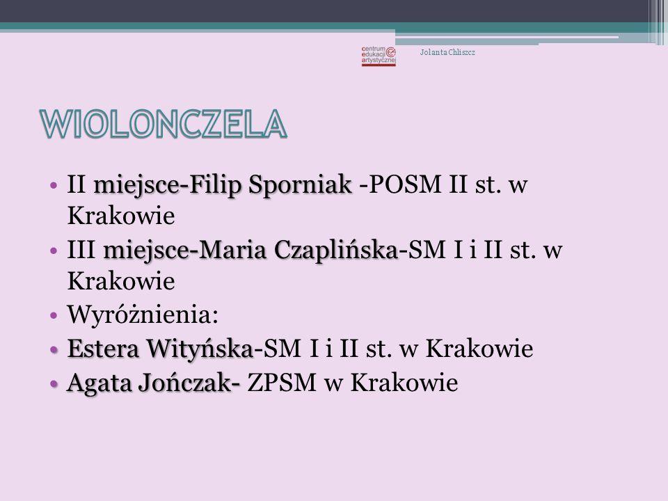 WIOLONCZELA II miejsce-Filip Sporniak -POSM II st. w Krakowie
